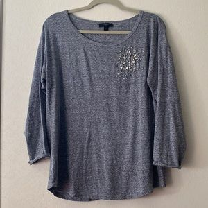 Long sleeve tee with sequins